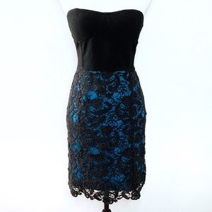 Pins and Needles Black & Blue Lace Strapless Dress